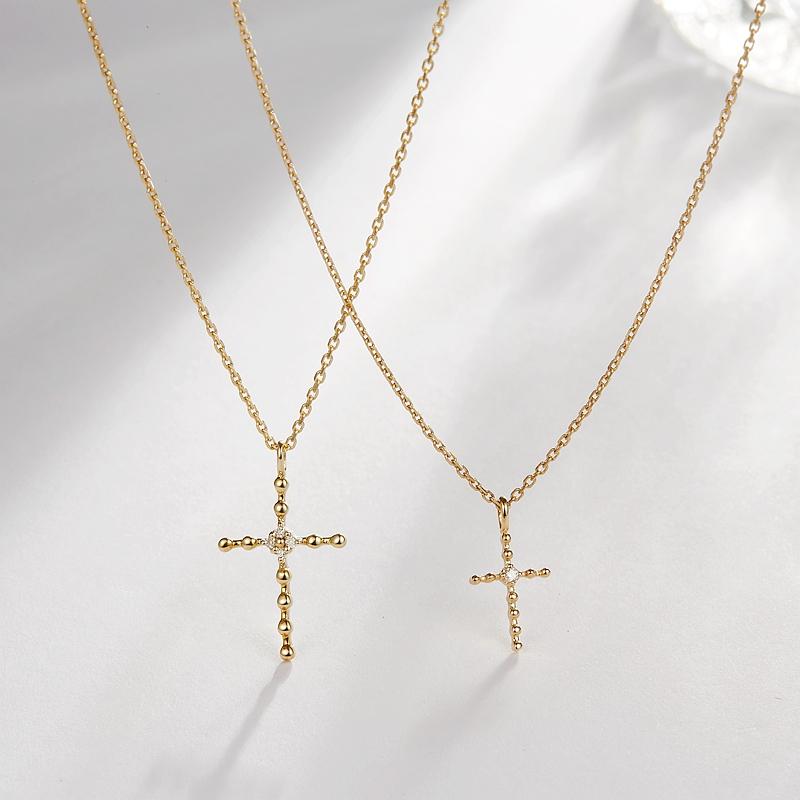 FADOOOJ日系轻珠宝10k金天然钻石迷你十字架简约经典项链女饰品