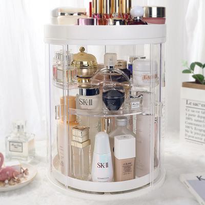 网红防尘旋转化妆品收纳盒桌面梳妆台口红护肤品整理展示置物架