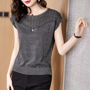 短袖T恤女2020夏新款洋气亮丝 镂空薄款宽松上衣女士冰丝针织衫潮图片