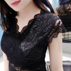 欧货蕾丝衫蕾丝上衣女夏性感V领镂空半袖雪纺女装修身短袖T恤衫