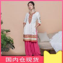 印度女装优雅米色刺绣纯棉传统民族风中长款服饰上衣2019秋季新款