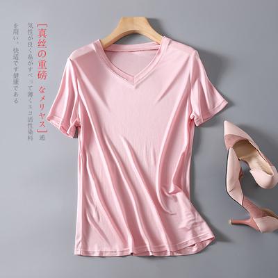 夏季重磅真丝女T恤短袖 时尚V领桑蚕丝打底衫 纯色针织修身上衣