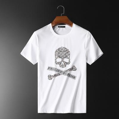2020年夏季潮男個性骷髏頭圖案燙鉆休閑圓領T恤白2117 P70