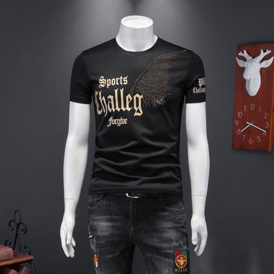 2020年夏季潮男個性英文字母翅膀燙鉆休閑圓領T恤黑 J2277 P70