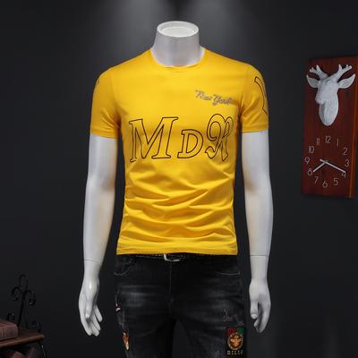 2020年夏季潮男個性英文字母圖案燙鉆休閑圓領T恤黃 J2113 P65