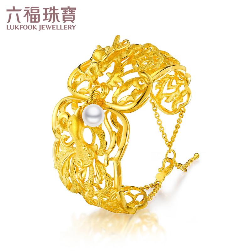 六福珠宝喜爱系列黄金淡水珍珠手镯