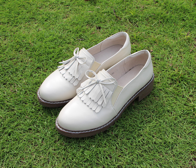 2020 new British style womens shoes Bow Shoes tassels one foot Lefu womens shoes retro Oxford casual single shoes