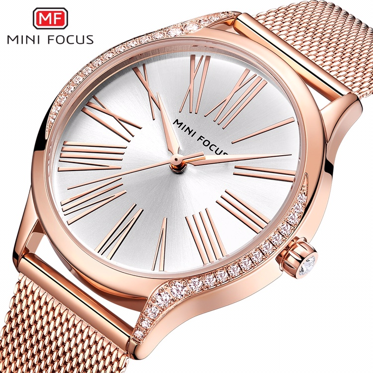 Minifucus fox simple fashion quartz womens watch stainless steel mesh with Roman diamond watch waterproof