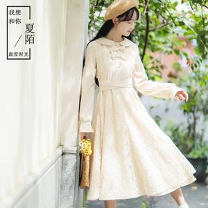 中国风女装复古唐装女民国风长袖连衣裙文艺甜美2019秋装新款潮