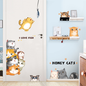 卡通贴画小图案墙贴儿童房墙壁房间卧室温馨装饰贴纸门贴墙纸自粘