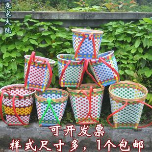 四川纯手工编织塑料儿童玩具舞蹈道具幼儿园游戏小背篓背篼背筐
