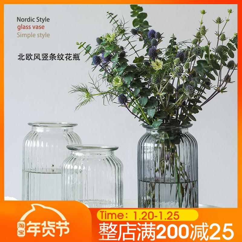 花瓶摆件客厅插花玻璃透明干花ins北欧小满天星鲜花花器水养简约