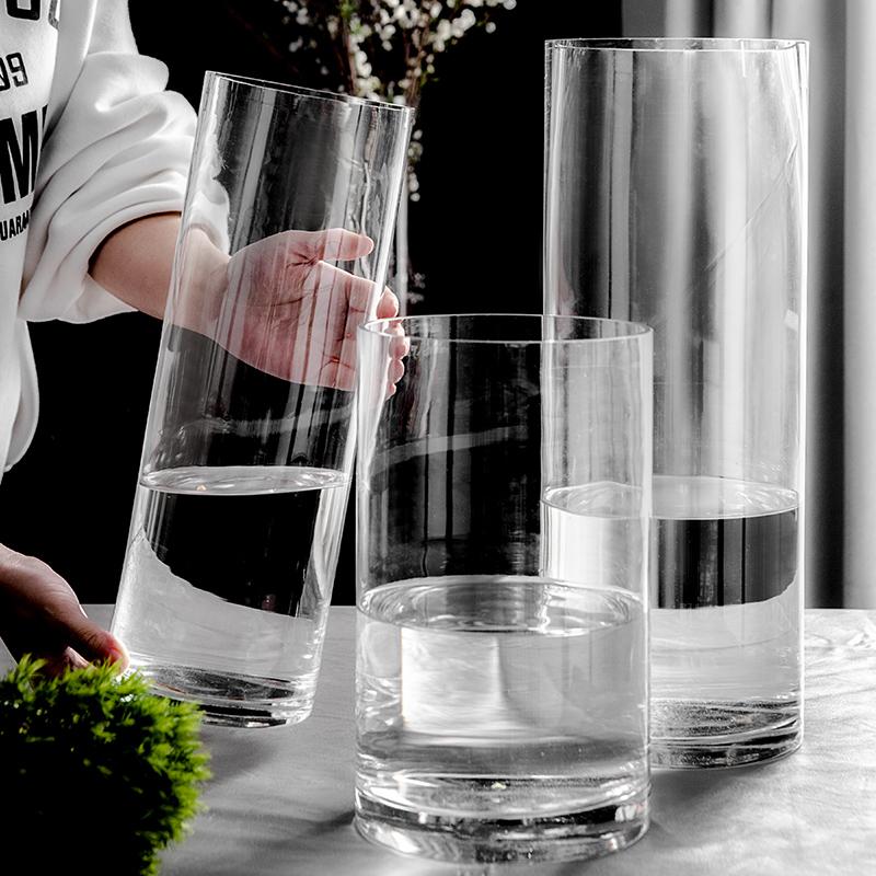 摆件客厅插花透明玻璃北欧直筒花瓶
