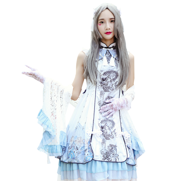 Chinese style Lolita Dress Blue Dragon white tiger Lolita Dress daily Princess Dress classical Gothic Lo skirt female