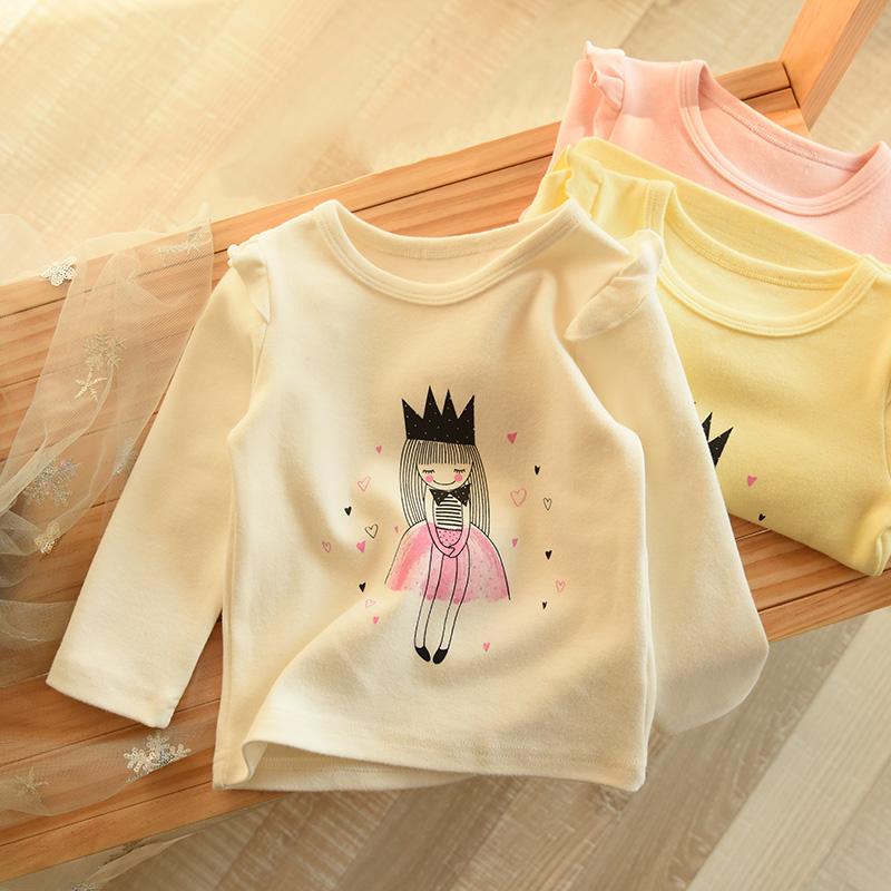 儿童纯棉小飞袖长袖t恤女童打底衫