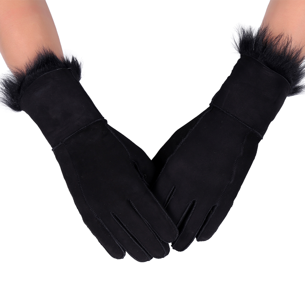 Imported fur all in one skiing genuine sheepskin wool leather gloves womens thickened warm finger cycling outdoor broken code