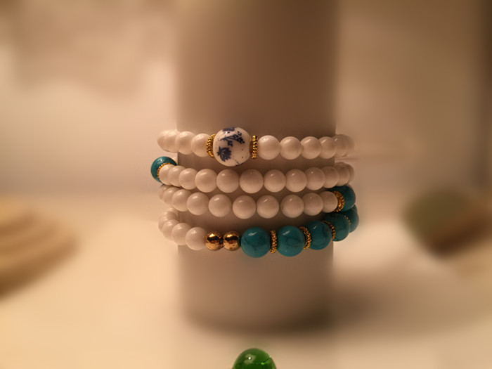 Tixiang thatched cottage natural color bead multi-layer bracelet bracelet hand rope hand string necklace sweater chain to ward off evil spirits and attract wealth
