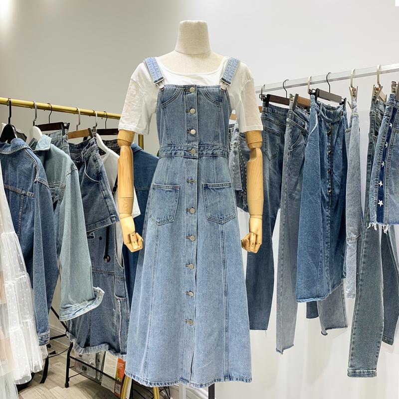 2020年新款春装女牛仔背带裙长款过膝韩版学生减龄洋气时尚连衣裙图片