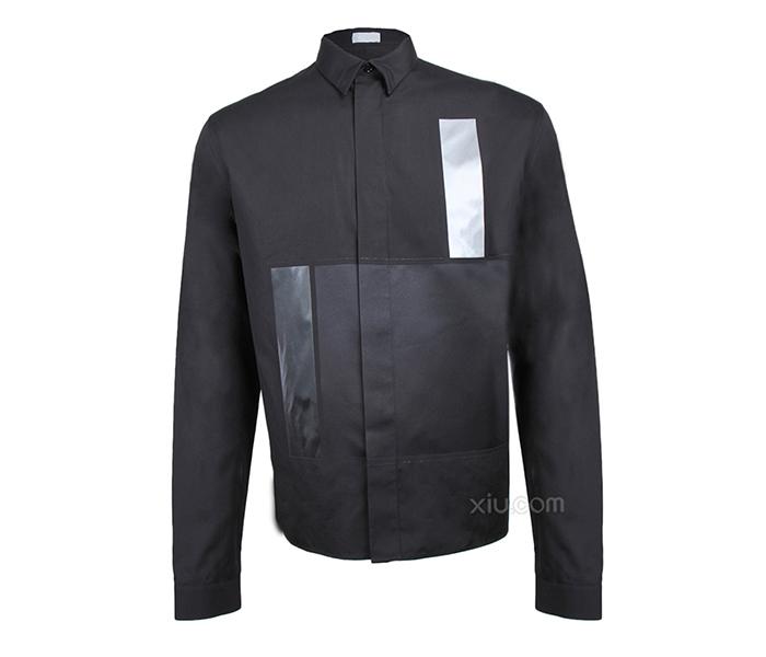 2020 summer mens shirt slim fitting black stitching shirt imported Satin easy care poplin breathable silk cotton shirt