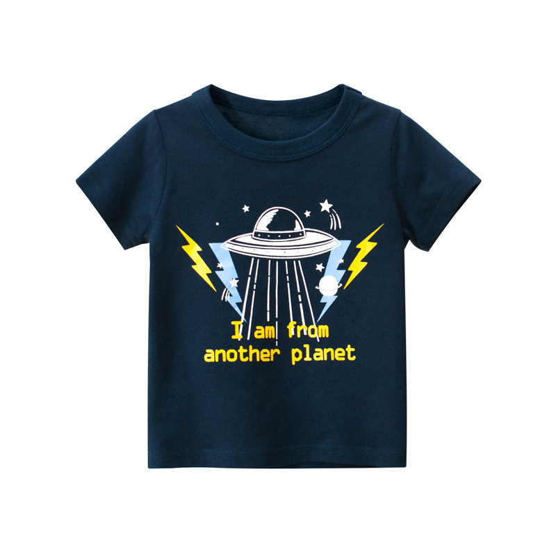 I come from another planet boy summer short sleeve ufot shirt pure cotton baby clothes spaceship dark blue