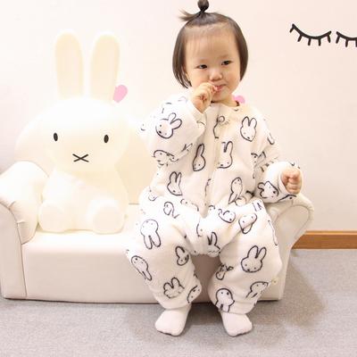 宝宝睡袋法兰绒分腿加绒加厚秋冬防踢被儿童连体衣婴儿珊瑚绒睡衣