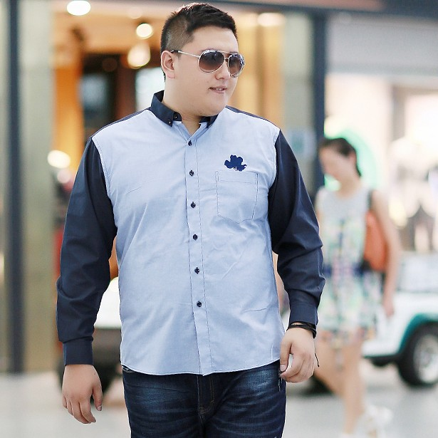 Big fat autumn color matching embroidered long sleeve shirt mens 300kg plus size business casual color woven shirt