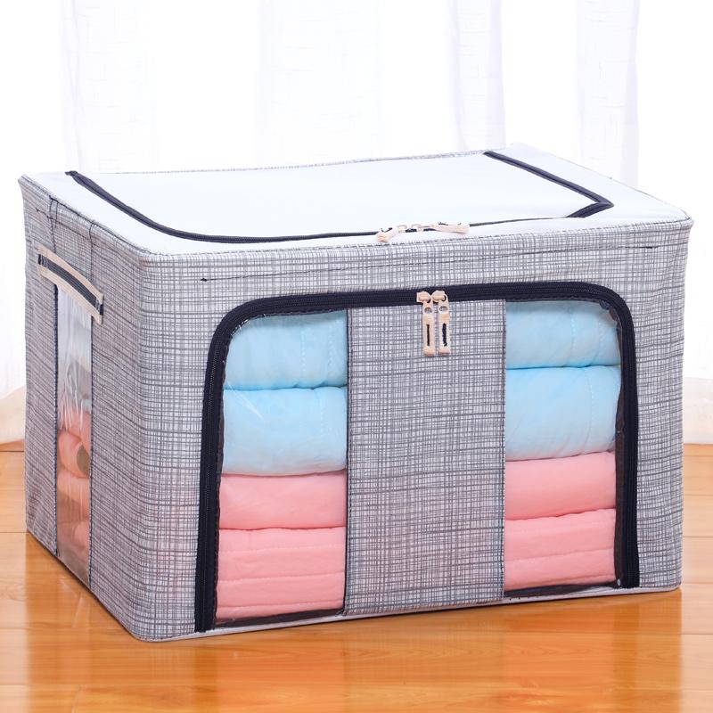 装衣服收纳箱布艺整理箱超大号衣物钢架储物箱衣柜收纳盒可折叠袋需要用券