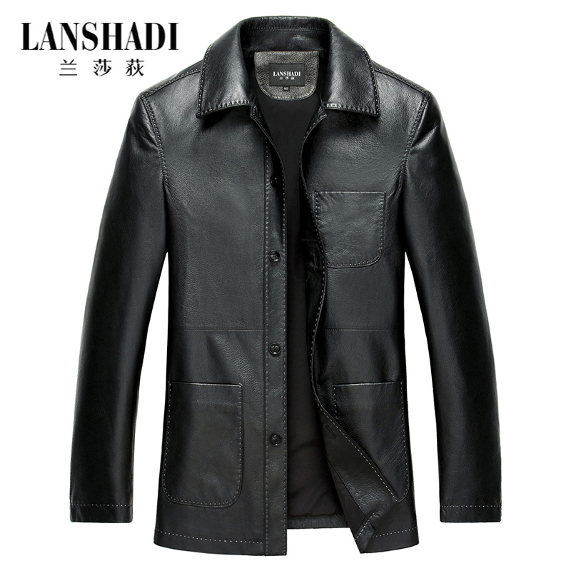 New Haining leather men's leather middle-aged mountain sheepskin jacket, long windbreaker, lapel, father, spring, autumn coat