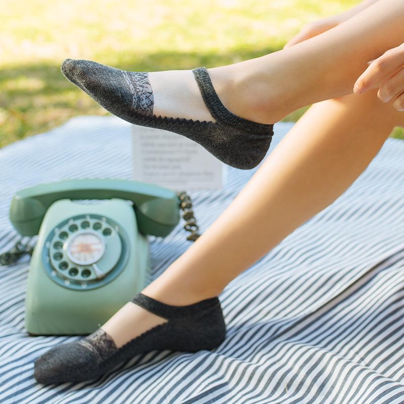 夏季薄款蕾丝船袜女韩国可爱低帮浅口隐形短袜子硅胶防滑纯棉袜底