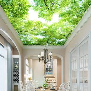 3D立体吊顶墙布天空墙纸 客厅星空壁画吊顶带胶卧室儿童房背景墙