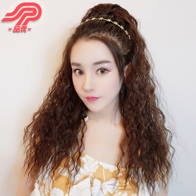 Wig tiger clip small taco ponytail female long curly hair fake ponytail big wave realistic fluffy hip-hop style