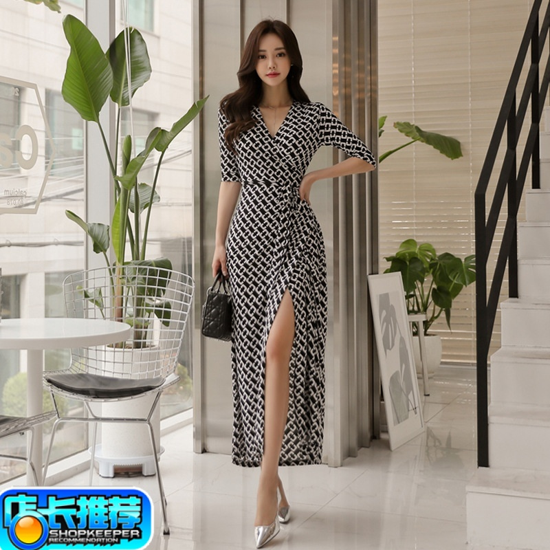 New womens clothing in summer of 2019 d familys same wrap dress black and white chain tie dress temperament slim dress