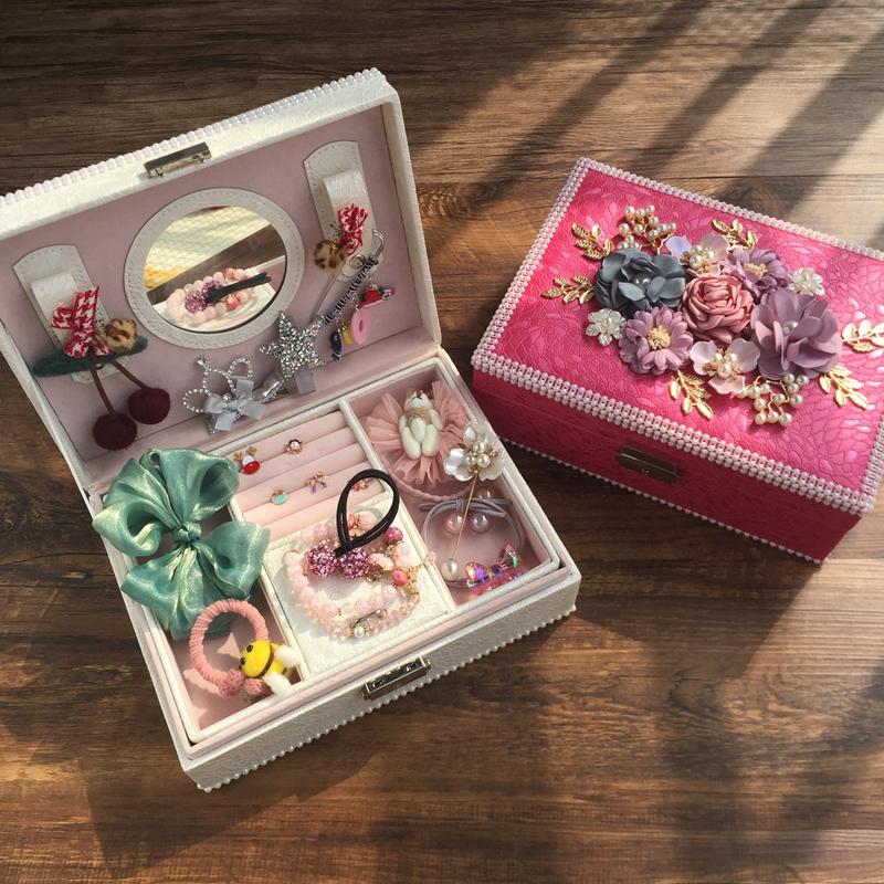 公主饰品双层收纳箱首饰盒儿童高档生日礼物女童精致发饰套装礼盒
