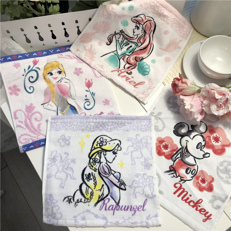 Export Princess lovely cartoon pure cotton square small square handkerchief