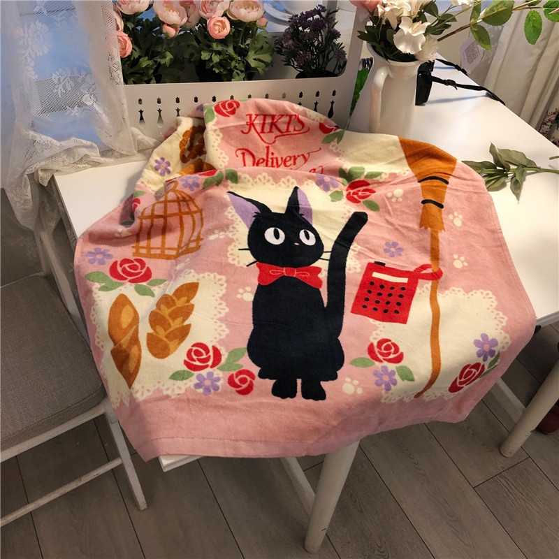 Export Japanese dragon cat witch pure cotton bath towel 70 * 140