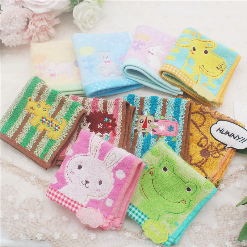 Preferential Japanese cotton cartoon small towel pure cotton square children pure cotton towel small handkerchief small towel