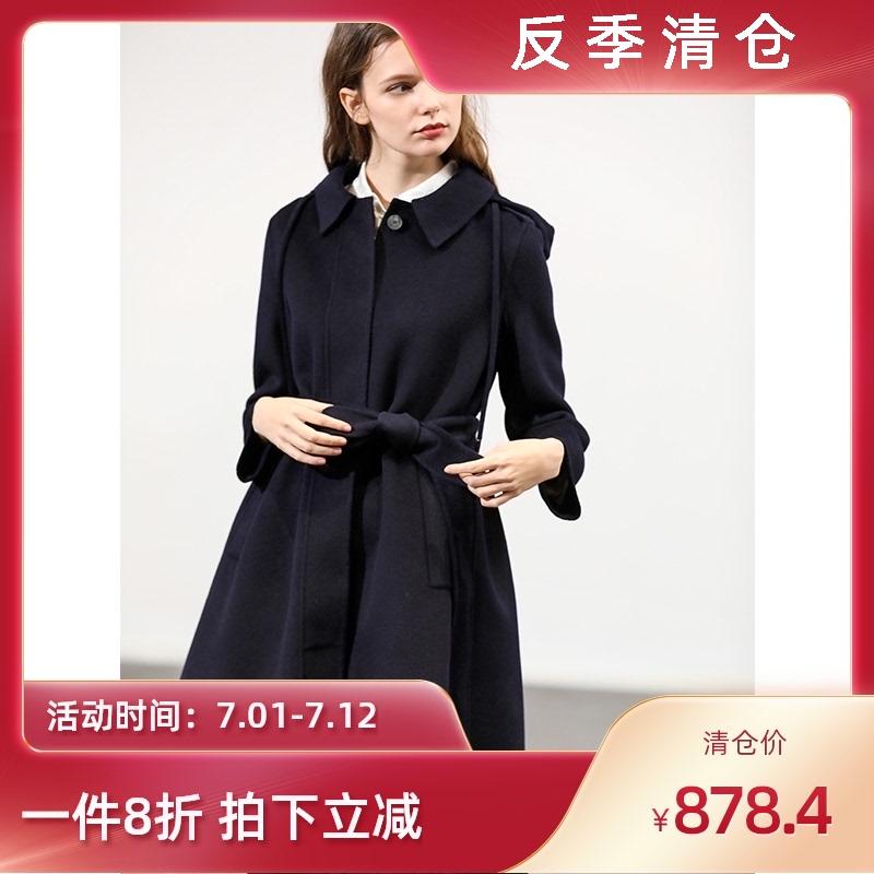 2020年新款双面羊绒大衣反季腰带毛呢外套女年轻款中长款羊毛斗篷