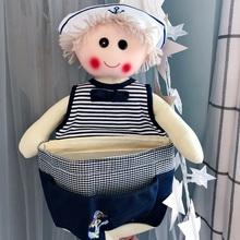 卡通挂袋娃娃可爱布艺创意墙挂式儿童房储物袋装饰门后杂物收纳袋