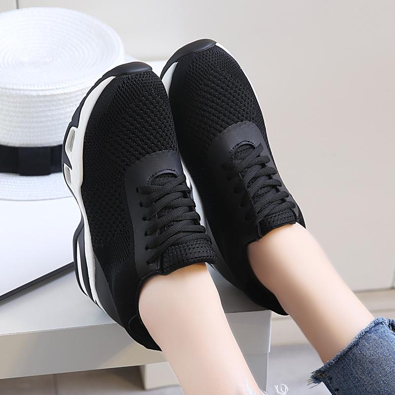 内增高女鞋网面透气秋冬百搭松糕厚底休闲显瘦黑色运动气垫网鞋女
