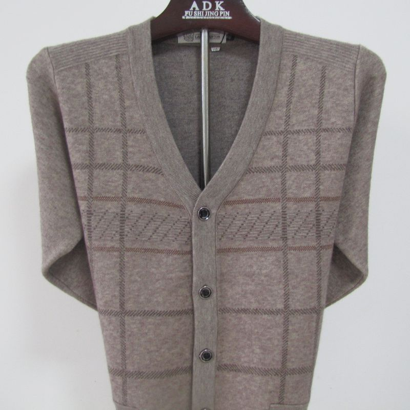 2020 new cardigan mens sweater cardigan middle-aged autumn and winter wool cardigan fathers coat special