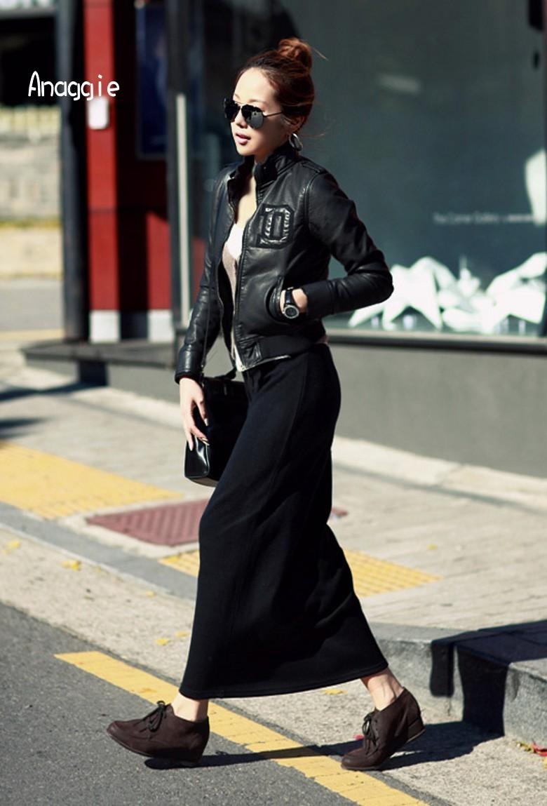 品牌Anaggie2018秋冬新品长款半身裙长裙包臀裙厚棉欧美修身开叉