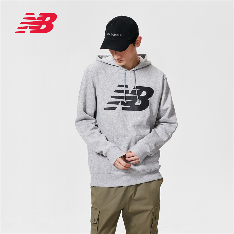 New Balance NB official men's fleece lining long-sleeved sports casual hooded sweater MT83982