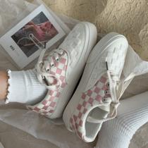 粉红色少女心可爱格子帆布鞋子女韩版街拍网红百搭ins板鞋黄洛林