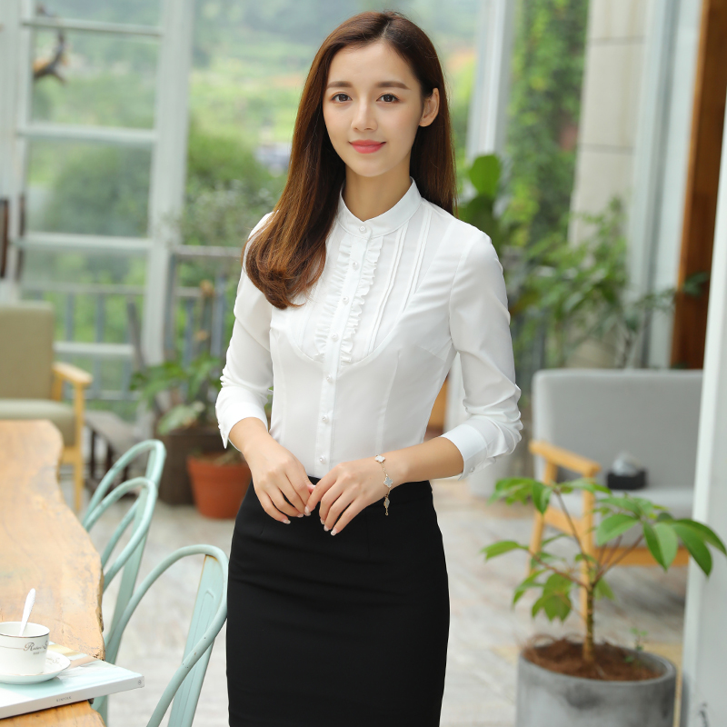 Professional shirt womens long sleeve spring and autumn new style work clothes shirt Korean dress white slim work clothes
