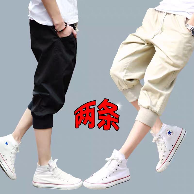 Mens shorts summer sports leisure pure cotton Capri Pants student trend loose Capri Pants horse pants thin