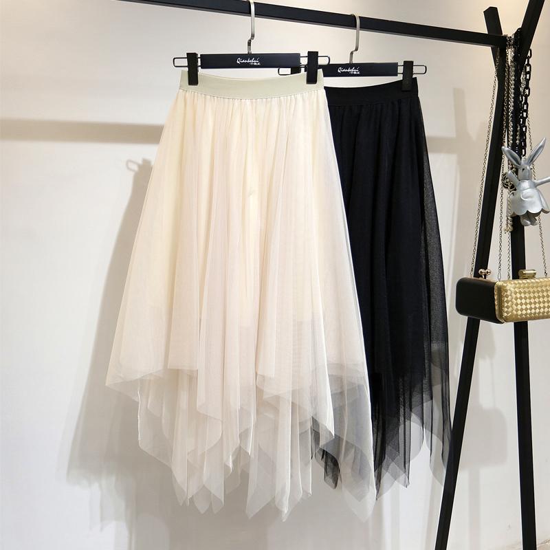 网纱半身仙女纱裙2020秋季新款不规则黑色高腰中长款秋冬ins长裙