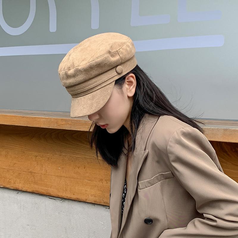 秋冬復古ベレー帽の平頂八角帽セームスエード韓国版英倫文芸画家帽鴨舌海軍帽