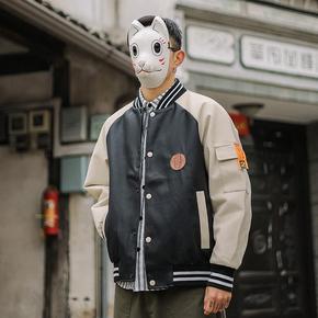 东京衣柜棒球服男潮牌宽松休闲百搭字母拼色拼接潮流pu皮夹克外套