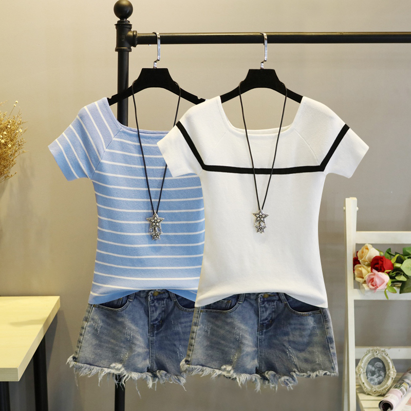 2020夏季冰丝上衣修身短款打底衫一字领条纹薄款短袖针织衫T恤女