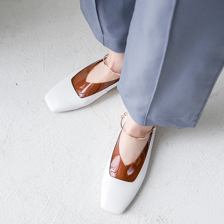 岳小咸透明亮片时尚网红平跟鞋方头套脚软底单鞋女真皮低帮女鞋